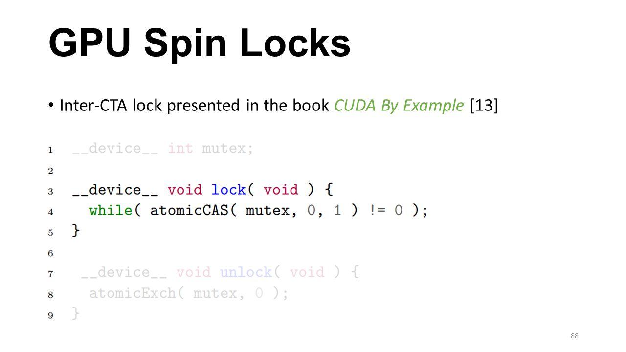 GPU Spin Locks Inter-CTA lock presented in the book CUDA By Example [13]